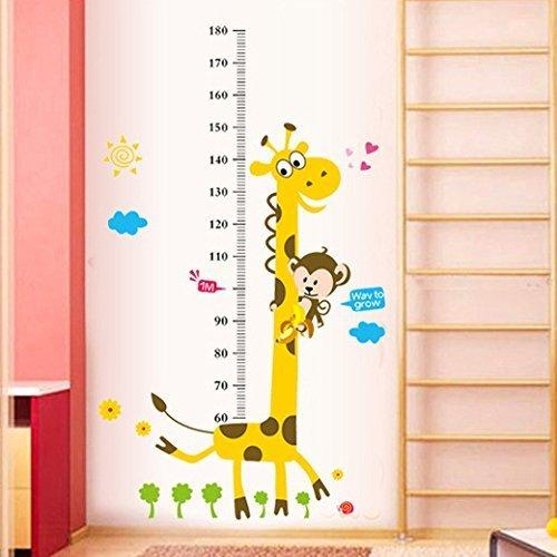 Diseño de adhesivo de las habitaciones de pared/de la pared de tatuajes de/de bricolaje pegatinas de vinilo para niños/niños pequeños de habitaciones con de colour amarillo de la jirafa, sistema de medición de café con leche/de crecimiento de un cinta métrica de y mono de Los diseños en muchos coloures de VAGA