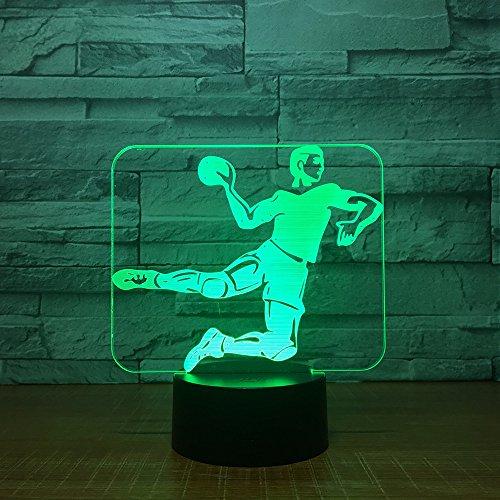 Kindernachtlicht, 3D Handball Pattern LED 7 Farben USB Schlummerlicht,Nachttischlampe,für Verwendet in Kinderzimmer, Schlafzimmer, Geburtstagsgeschenk, Wohnzimmerdekoration