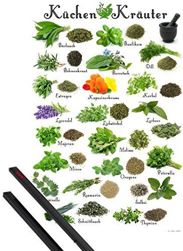 1art1 Kochkunst Poster (91x61 cm) Küchen-Kräuter Inklusive EIN Paar Posterleisten, Schwarz