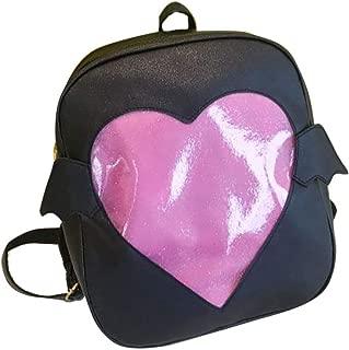 TOKYO-T Ita Bags Backpack Black/Pink Wing Bags Transparent PU Leather Heart Lolita (Black)