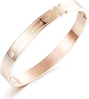 EoCot Stainless Steel Bracelet The Flame of Our Love Cubic Zirconia Bangle Bracelet for Unisex-Adult