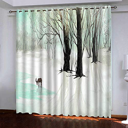 MENGBB Blackout Curtain for Kids Girls Microfiber 63x71 inch Jungle elk painting Thermal Insulated 95% Blackout Kitchen Bedroom Living Room Window Eyelet Curtains