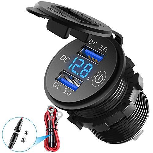 QC3.0 Auto Schnellladegerät,USB Auto Steckdose LED Digitaler Spannungs- und Berührungsschalter Dual USB 12V Wasserdichte Buchse Geeignet für 12V/24V Auto Motorrad LKW(Blau)