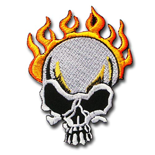 Verani Epic Vampire Fire Flame Skull Burning Patch Embroidered Iron on 8 Ball Dice Jolly Roger Crossbone Grim Reaper Harley Cross Pistol Biker Anarchy Heavy Metal Hard Rock Tatto Badge Emblem #3