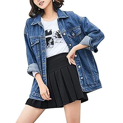 Women's Oversized Mid Long Denim Jacket Jean Biker Coat