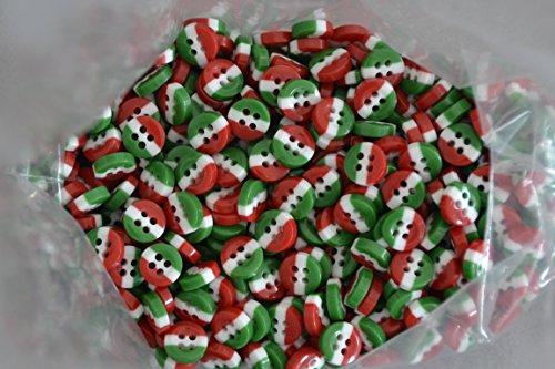 Bottoni poliestere per camiceria tricolore bandiera italiana conf 200 pezzi (lineato 16 - diametro mm. 10)