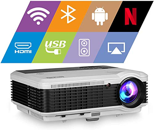 EUG WiFi Projector 5000lumen Android Bluetooth LCD Home Theatre Projector with Android OS HDMI 1080P Projector for Outdoor Movie Gaming, Wireless Screen Share with iPhone Smartphone Laptop
