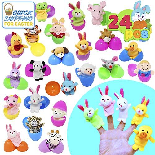 JOYIN Marionetas de Dedos 24 Pack Huevos de Pascua Rellenos de Juguete Animales para Niños Bebé