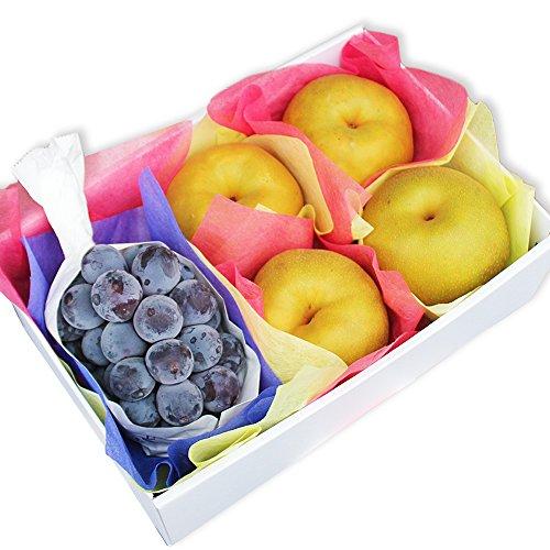 種無し葡萄と梨のセット 小 フルーツギフト 化粧箱 御祝 御礼 お誕生日 お供え 贈答用 御中元