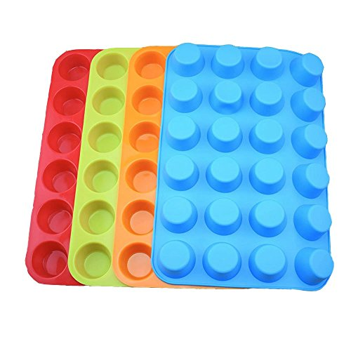 Silicone Mini Muffin Pan, Qtopun 4 Pack 24 Cups Silicone Mold Cups Baking Pan, Silicone Muffin Tins Baking Moulds-Multi Color