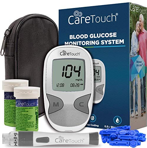Future Diagnostics USA's Care Touch Diabetes Testing Kit includes a Care Touch Blood Glucose Meter, 100 Blood Test Strips, 1 Lancing Device, 30 gauge Lancets-100 count, and a Carrying Case.