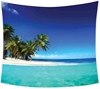 Ocean Decor Wall Blankets for Bedroom Seaside View Tropical Nature Landscape Photography Cute Tapestry Wall Hanging Art W84 x L70 Inch Decorative