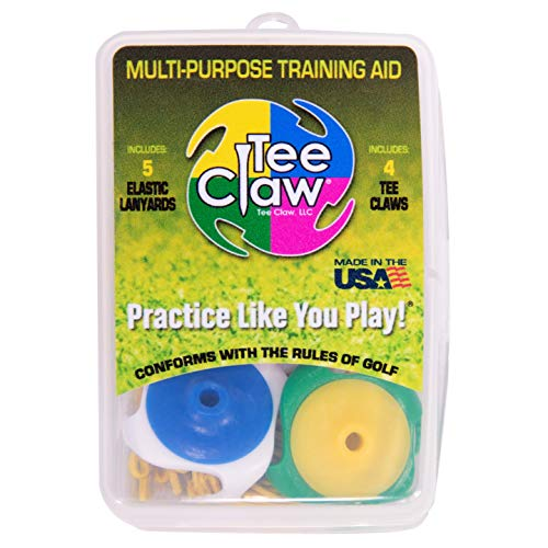 Tee Claw Multipurpose Training Aid 4 Pack - Use Any Tee on Artificial Hitting Mat, Multi