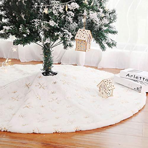 HXXXIN Weißer Weihnachtsbaumrock 122Cm Plüschperlen Bestickte Weihnachtsbaumgruppe Christbaumschmuck,Silber