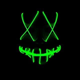 Chloefairy LED Light Up Mask Scary Purge Mask for Halloween Party Festival Costume Cosplay Creepy Props Safe EL Wire M-10326