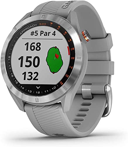 new arrival Garmin outlet online sale Approach S40, Stylish GPS Golf new arrival Smartwatch, Lightweight With Touchscreen Display, Gray/Stainless Steel sale