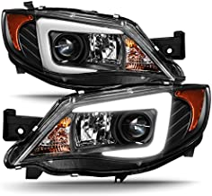 For 2008-2014 Subaru Impreza WRX STI [HID Type] LED DRL Tube Black Bazel Projector Headlights LH+RH Pair