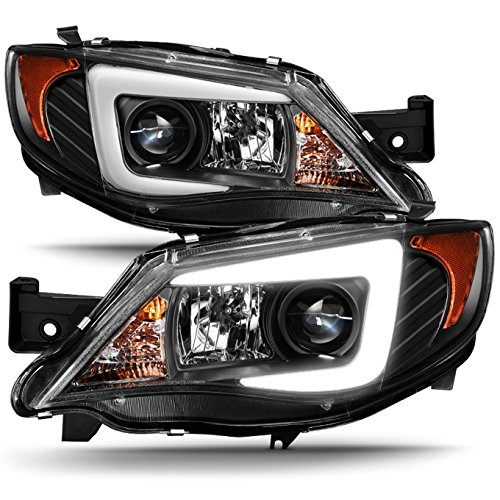 For 2008-2014 Subaru Impreza WRX STI [HID Type] LED DRL Tube Black Bazel Projector Headlights LH+RH Pair