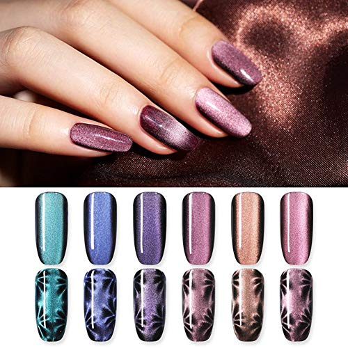 NICOLE DIARY 5 ml Cat Eye Gel Nagellack 5D Effekt Magnetic Gel Lack Soak Off UV Gel Magie Holographische Maniküre Dekoration Kit (6 flaschen)