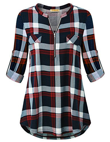 Baikea Womens Tunic Tops for Leggings Plus Size, V Neck Henley Oversized Plaid Gingham Shirts for Women roll Sleeve Blouses Plus Size Causal Loose Soft Dressy Hem Home Wear Autumn Clothes Red XL