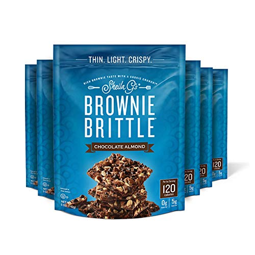 Sheila G's Brownie Brittle Chocolate Chip Almond- Low Calorie, Healthy Chocolate, Sweets & Treats Dessert, Thin Sweet Crispy Snack-Rich Brownie Taste with a Cookie Crunch- 5oz, Pack of 6