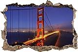 pixxp Blueprint 3D WD s2394_ 92x 62Vivos Golden Gate Bridge con Cielo Azul perforar Pared Adhesivo Pared en 3D, Vinilo, Multicolor, 92x 62x 0,02cm