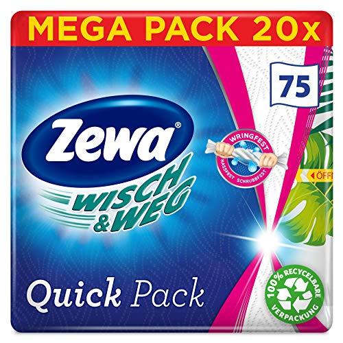 Zewa WischundWeg Quick Pack Küchenrolle, praktische Einzeltücher, Mega Pack, 20 Packungen (20 x 75 Tücher)