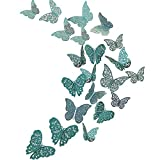 48Pcs Butterfly Decorations, Creatiee 3D Wall Decals|Metallic Art Sticker, DIY/Handmade/Removable/Pressure Resistance Paper Murals Gift for Home Kids Bedroom Nursey Party Décor (Blue)