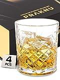 Praknu Whisky Gläser 4er Set mit Geschenkbox - Edles Kristallglas 300ml - Whiskey Glas zum Verschenken
