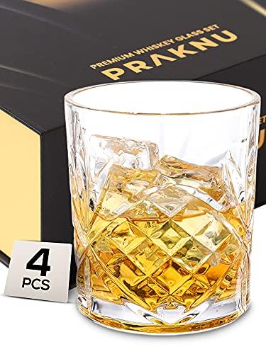 Set di 4 Bicchieri da Whisky di Cristallo da 300 ml - con Confezione Regalo - Bicchiere da Whiskey da Regalare