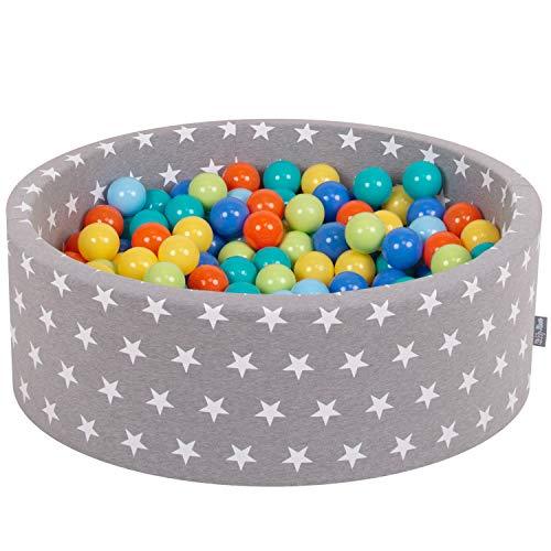 KiddyMoon 90X30cm/200 Bolas ∅ 7Cm Piscina De Bolas para Ninos Hecha En La UE, Gris EST:Verdeclr/Naranj/Turq/Azul/Azulclr/Amarilo
