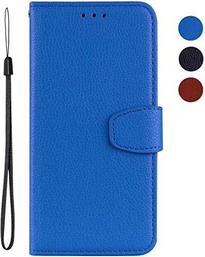 vingarshern Hülle für HTC One M9+ / One M9 Plus Schutzhülle Tasche Klappbares Magnetverschluss Flip Hülle Lederhülle Handytasche HTC One M9+ / M9 Plus Hülle Leder Etui Brieftasche(Blau) MEHRWEG