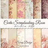 Carta Scrapbooking Rosa 20,5 x 20,5 cm - 2 fogli