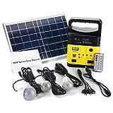 Tutoy 6W 6V Panel Solar Portátil Solar AC Kit Solar Sistema De Alimentación Camping Generador Portátil con Bombillas - Amarillo