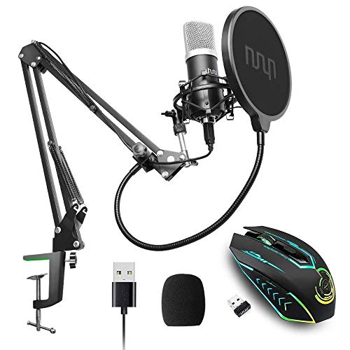 UHURU UM900 USB Condenser Microphone with Wireless Gaming Mouse Bundle for Podcast, Gaming, Streaming, Recording, Vocal