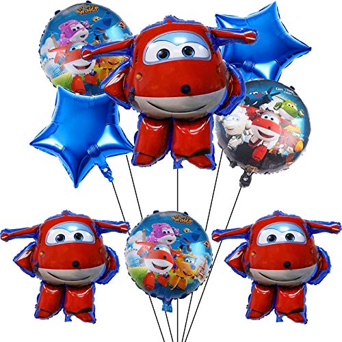 9PCS Super Wings Balloons for Kids Birthday Baby Shower Party Decorations