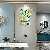 BOYH Cuadrado Péndulo Reloj De Pared Moderno Grande Silencioso Reloj con Péndulo Silencioso Rectangular Reloj De Arte para Salón Decorativo 27x67cm
