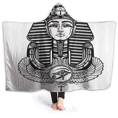 Mit Kapuze Decke Vintage Pharao Tattoo Print Super weiche Flanell Sherpa Plüsch Fleece tragbare Decke 60W von 50H Zoll (mit Kapuze)