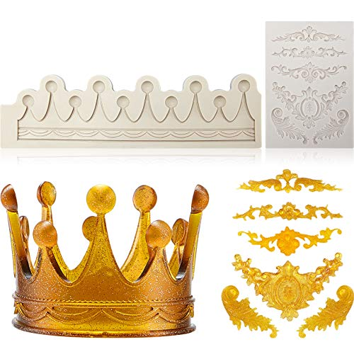 2 Pieces DIY 3D Sculpted Flower Royal Lace Baroque Scroll Silicone Mold, 3D Circle Crown Fondant Mold Crown Silicone Sugarcraft Mold for Cake Decoration Cupcake Topper Jewelry Polymer Clay