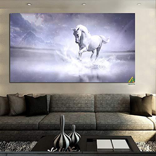 Weißes Pferd läuft im Fluss moderne Malerei Leinwand Malerei Malerei Wandkunst Bild Wohnzimmer Hauptdekoration A 60 x 120CM