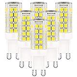 G9 LED Bulb Dimmable Daylight White 6000K 3.5 Watt 30W/35W/40W Equivalent 110V/120V 320LM G9 Bi-pin Candelabra Light Lamp - 6 Pack