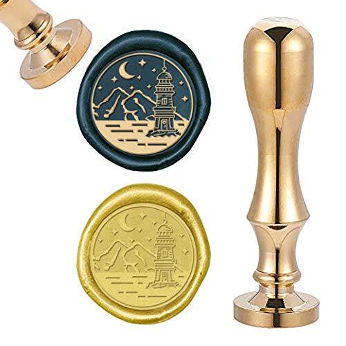 CRASPIRE Sello de cera, sellos de cera de sellado dorado mini sello de latón para sobre, invitación de boda, decoración de botellas de regalo, faro con luna