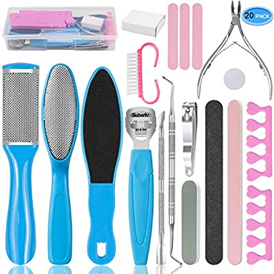 EAONE Professional Pedicure Tools Set 20 in 1, Foot Care Kit Stainless Steel Foot Rasp Foot Dead Skin Remover Pedicure Kit for Men Women Mother's Day Gift