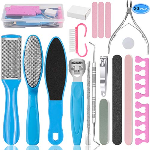 EAONE Professional Pedicure Tools Set 20 in 1 Foot Care Kit Stainless Steel Foot Rasp Foot Dead Skin Remover Pedicure Kit for Men Women Mother#039s Day Gift