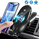 Vasea Cargador Inalámbrico Coche, Fast Wireless Car Charger Soporte Ajustable, 7.5W para iPhone 11/11Pro/XS/XR/X/8/8 Plus, 10W para Galaxy S10/Note 10/S9/S7 y Teléfonos Qi-Enabled - Negro