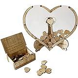 Libro de visitas de boda personalizado, alternativa marco de madera de boda con 80/60 corazones vacíos para escribir Guestbook, para bautizo, regalos de boda, rústico, reserva (forma de corazón)