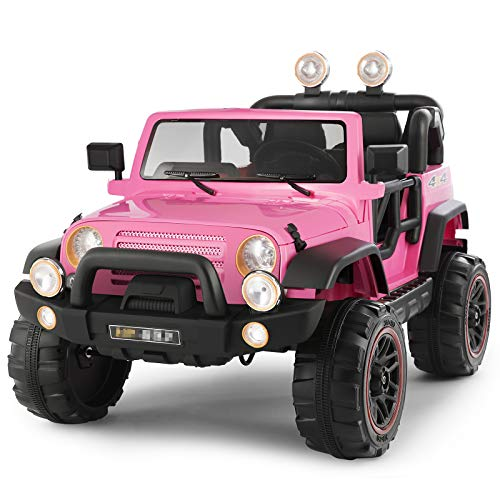 Fitnessclub Electric Cars for Kids, 12V Powered Kids Ride On Car with 2.4 GHZ Bluetooth Remote Control, LED Lights, MP3 Player, 3 Speeds, Waterproof Cover (Pink)
