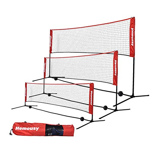 wowspeed Badminton Net Set Height Adjustable 107 155CM Portable Tennis Net with Poles and Stand Carry Bag Foldable Volleyball Net for Garden Schoolyard Beach Indoor Outdoor Adult Kids red 300