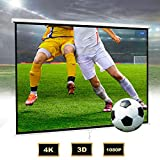 Todeco Ecran Videoprojecteur, Ecran pour Projection portatif de 106 Pouces 1: 1 HD 3D pour cinéma Maison, intérieur, extérieur, écran de Plafond Mural 190 x190 cm