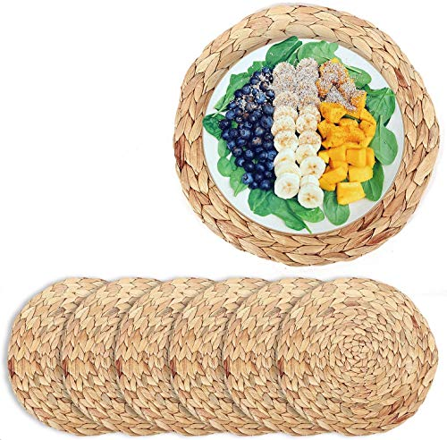 """6 Pack Woven Placemats,Natural Water Hyacinth Weave Placemat Round Braided Rattan Tablemats 13.8"""""""